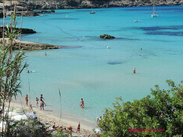 Vacanza ad Ibiza con bambini consigli sulle spiagge da vedere e cosa fare - acqua cristallina a Cala Tarida-